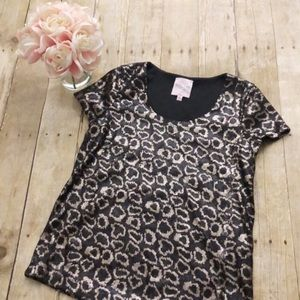 Romeo & Juliet Couture Leopard Sequin Tee Small